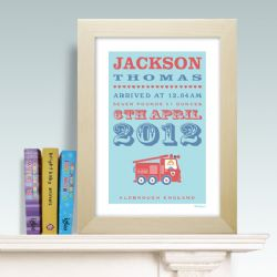 Personalised New Baby Print - Fire Engine